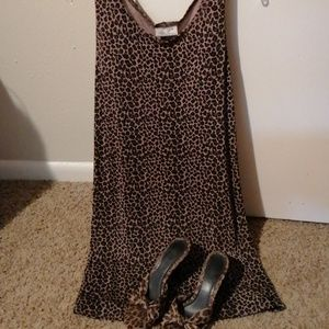 Leopard Print Dress Sz8 & 8 1/2  Mules